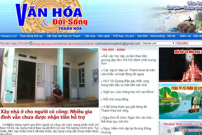 Phiên bản online của báo Văn hóa & Đời sống Thanh Hóa