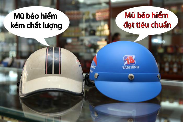 mũ bảo hiểm rởm, mũ bảo hiểm không đạt tiêu chuẩn, mũ bảo hiểm tốt, mũ bảo hiểm đạt chất lượng