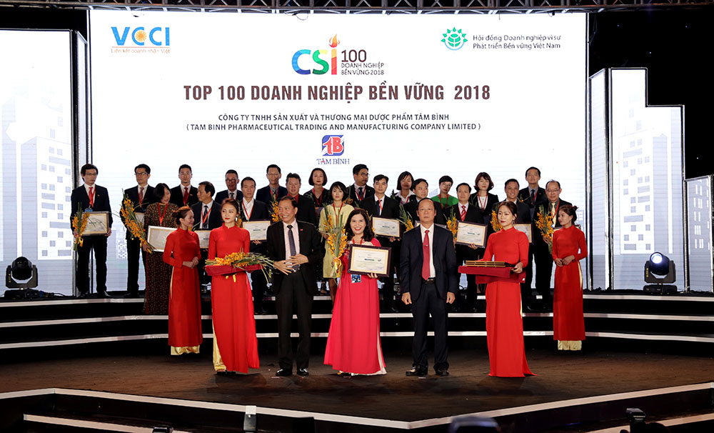Dược phẩm Tâm Bình được vinh danh Top 100 doanh nghiệp bền vững 2018