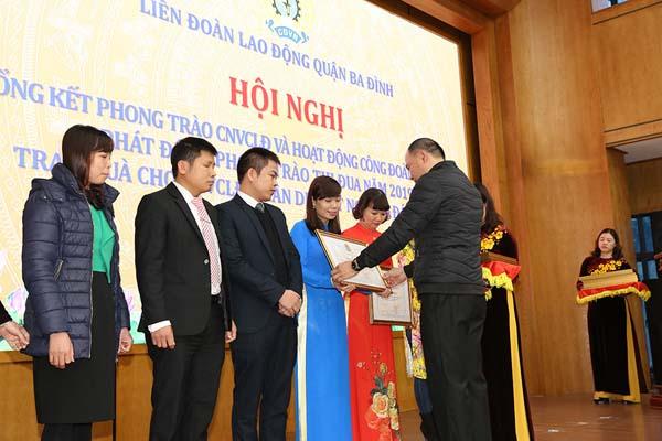 Công ty Dược phẩm Tâm Bình đã 3 lần liên tiếp được nhận bằng khen của Liên đoàn Lao động TP Hà Nội