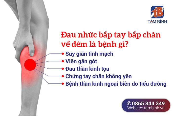các bệnh lý liên quan đau nhức bắp tay bắp chân về đêm