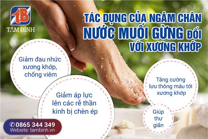 tác dụng của ngâm chân với nước muối gừng