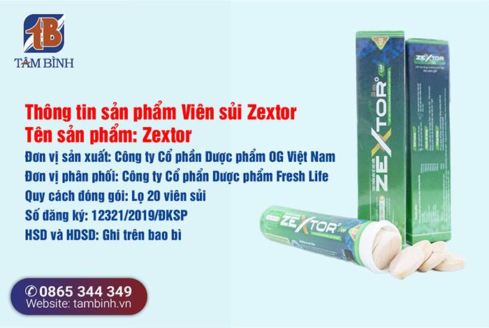 thông tin sản phẩm viên sủi zextor